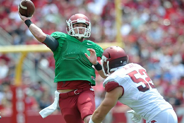 Arkansas quarterback Brandon Allen completed 16 of his 17 passes for 204 yards and a touchdown in a scrimmage on Saturday, Aug. 10, 2013 at Donald W. Reynolds Razorback Stadium.