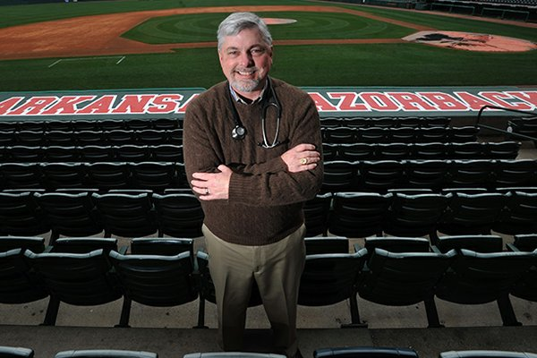 Dr. Al Gordon, the physical physician for the Arkansas Razorbacks, at Baum Stadium in Fayetteville.