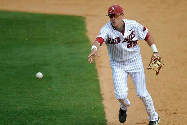 Arkansas first baseman Dominic Ficociello flips the ball back to first base to force out a Texas A&M baserunner in the eighth inning of Sunday afternoon's game at Baum Stadium in Fayetteville.