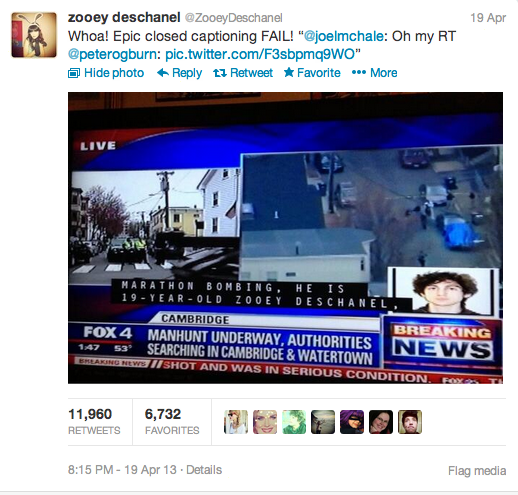this-screenshot-shows-actress-zooey-deschanel-responding-on-twitter-to-a-closed-caption-from-a-texas-news-broadcast-that-mistakenly-identified-her-as-a-bombing-suspect