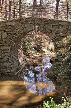 Joy Scott Manning Bridge of the Full Moon is one of several scenic spans at Garvan Woodland Gardens.