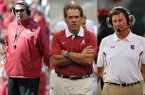 From left: Arkansas coach Bret Bielema, Alabama coach Nick Saban and South Carolina coach Steve Spurrier.