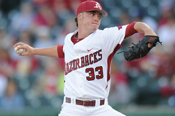 Arkansas reliever Trey Killian delivers a pitch Tuesday, April 30, 2013, during the fourth inning of play against Missouri State at Baum Stadium in Fayetteville.