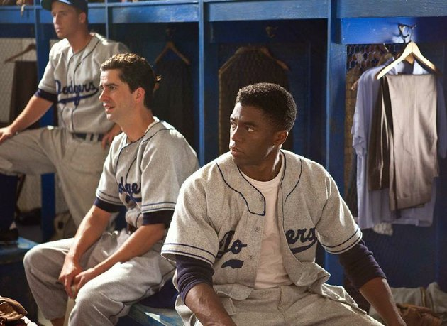dodger-players-gene-hermanski-blake-sanders-ralph-branca-hamish-linklater-and-jackie-robinson-chadwick-boseman-gird-for-battle-in-brian-helgelands-42