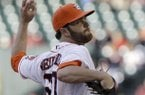 Houston Astros' Dallas Keuchel delivers a pitch against the Cleveland Indians in the first inning of a baseball game on Saturday, April 20, 2013, in Houston. Keuchel relieved starter Philip Humber after Humber gave up eight runs. (AP Photo/Pat Sullivan)