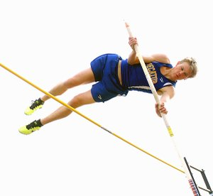 Decatur senior Evan Owens clears the bar in pole vault competition in Gravette earlier this season. Owens won the state championship at Ft. Smith on May 1 with a vault of 13 feet, 4 inches.