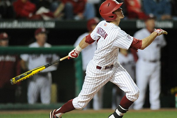 Brian Anderson was the only Arkansas player with multiple hits in a 3-0 loss at Auburn on Thursday.