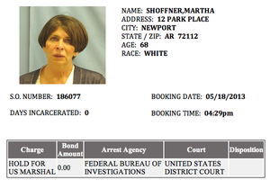 This screenshot from the Pulaski County jail website shows Treasurer Martha Shoffner was booked in about 4:30 p.m. Saturday.