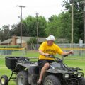 Danny Abshier, Prairie Grove football coach, works on the field at Tiger Stadium. Abshier handles th...