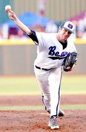 Central Arkansas starting pitcher Ethan McKinzie throws a strike against Mississippi State in the fourth inning of their NCAA college baseball regional tournament game in Starkville, Miss., on June 2.