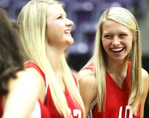 Aubrey Edie (right) averaged 29 assists per game this season while leading Fayetteville to the Class 7A volleyball state title. She will be a member of the West team in today's All-Star game.