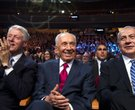 Former President Bill Clinton joins Israeli President Shimon Peres (center) and Israeli Prime Minist