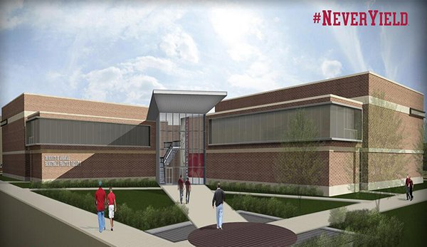 An artist's rendering shows a proposed basketball practice facility to be located on the University of Arkansas campus on Leroy Pond Drive, between Bogle Park and The Gardens.
