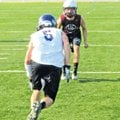 Huntsville's Jaden Kinney plays defense during passing league at Springdale Har-Ber on Monday. Kinne...