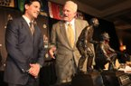 Notre Dame defensive coordinator Bob Diaco (left) talks with Frank Broyles Dec. 4, 2012, after winning the Frank Broyles Award in Little Rock.
