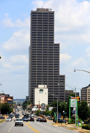 Traffic passes 40-story Metropolitan National Bank in downtown Little Rock on Thursday. The bank's headquarters is in the building at 425 W. Capitol Ave.