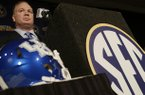 Kentucky coach Mark Stoops talks with reporters during the Southeastern Conference football Media Days in Hoover, Ala., Wednesday, July 17, 2013. (AP Photo/Dave Martin)