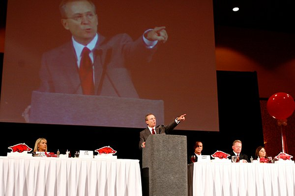 University of Arkansas athletics director Jeff Long speaks during the third annual Arkansas Razorback Football Kickoff Luncheon inside the John Q. Hammons Center in Rogers on Friday, Aug. 19, 2011.