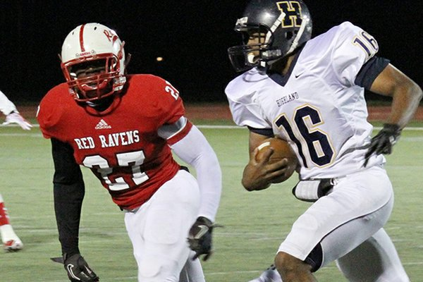 Coffeyville linebacker Martrell Spaight (27) runs down a Highland offensive player during a 2012 game.