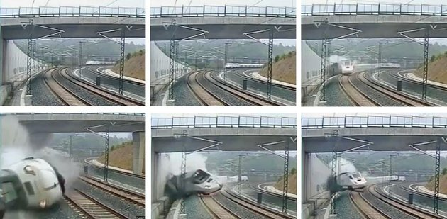 this-combo-image-taken-from-security-camera-video-shows-clockwise-from-top-left-a-train-derailing-in-santiago-de-compostela-spain-on-wednesday-july-24-2013-spanish-investigators-tried-to-determine-thursday-why-a-passenger-train-jumped-the-tracks-and-sent-eight-cars-crashing-into-each-other-just-before-arriving-in-this-northwestern-shrine-city-on-the-eve-of-a-major-christian-religious-festival-killing-at-least-77-people-and-injuring-more-than-140-ap-photo