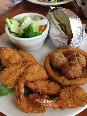 The fried shrimp platter ($13.99) at Mather Lodge Restaurant at Petit Jean State Park in Morrilton is a generously portioned meal featuring 10 butterfly Gulf shrimp.