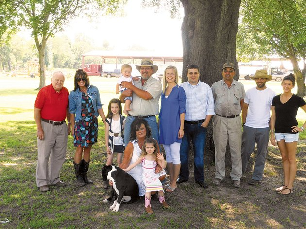 the-graham-family-of-tuckerman-is-the-2013-jackson-county-farm-family-of-the-year-members-of-the-family-include-back-row-from-the-left-henry-gustave-gus-graham-jr-stefanie-graham-poe-haven-holladay-baby-charles-lowndes-charlie-steel-vi-henry-gustave-gus-graham-iii-sarah-graham-steel-charles-lowndes-charlie-steel-v-glenn-graham-zack-graham-and-abbi-graham-and-front-row-from-the-left-boss-the-dog-tami-graham-and-london-holladay