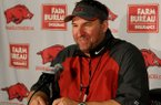 University of Arkansas head football coach Bret Bielema during a press conference Monday, Aug. 5, 2013 at the Fred W. Smith Football Center in Fayetteville.