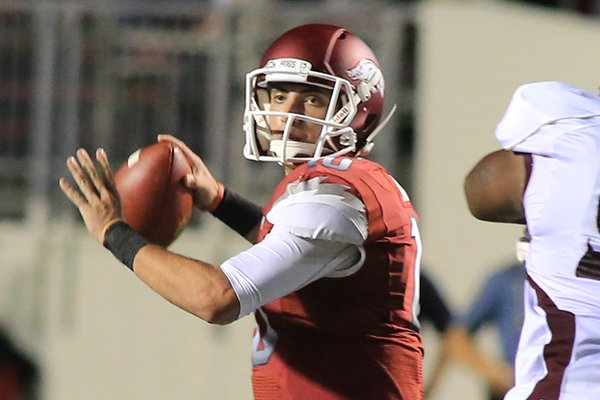 Arkansas quarterback Brandon Allen looks to pass during a Sept. 8, 2012 game against Louisiana-Monroe at War Memorial Stadium in Little Rock.
