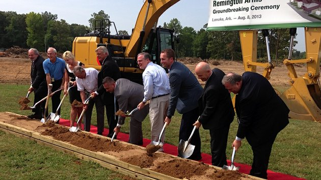 gov-mike-beebe-fifth-from-left-sen-mark-pryor-center-in-light-blue-shirt-and-officials-with-remington-guns-and-ammunition-break-ground-on-the-companys-new-32-million-facility-expansion-in-lonoke