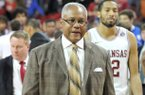 Arkansas associate head coach Melvin Watkins walks off the floor following the Razorbacks' game against the Louisiana Tech Bulldogs Thursday, Dec. 22, 2011 at Bud Walton Arena in Fayetteville.