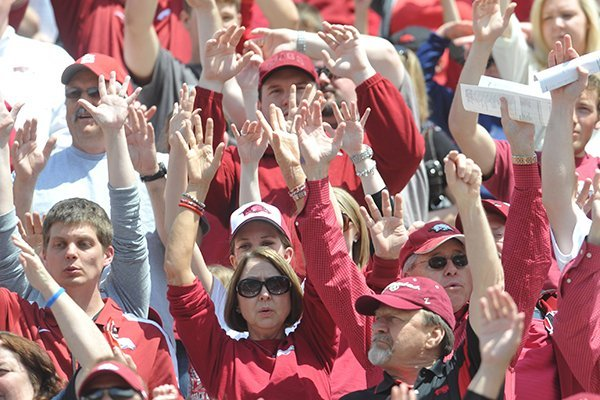 Arkansas fans cheer prior to the Razorbacks' Red-White Game on April 20, 2013 in Fayetteville.