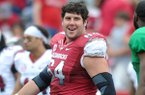 Arkansas center Travis Swanson sat out the Razorbacks' scrimmage on Saturday with an injury.