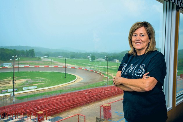 connie-starr-co-owner-of-the-batesville-motor-speedway-stands-in-front-of-the-track-which-is-the-home-of-nascar-great-mark-martin