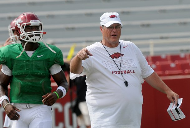 arkansas-offensive-coordinator-jim-chaney-watches-the-team-warm-up-before-saturdays-scrimmage-at-donald-w-reynolds-razorback-stadium-in-fayetteville