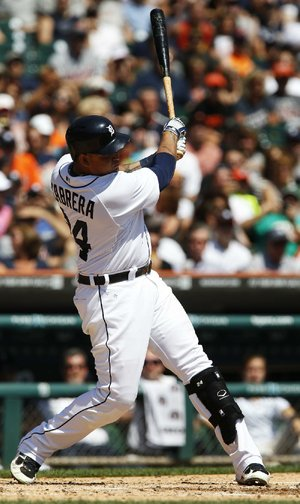Detroit Tigers' Miguel Cabrera singles to drive in Torii Hunter against the Kansas City Royals  in the third inning of a baseball game Sunday, Aug. 18, 2013, in Detroit. (AP Photo/Duane Burleson)