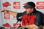 Arkansas head football coach Bret Bielema during a press conference Monday, Aug. 5, 2013 at the Fred W. Smith Football Center in Fayetteville.