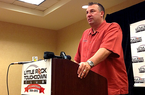 Arkansas head coach Bret Bielema addresses the Little Rock Touchdown Club on Wednesday, Aug. 12, 2013.