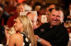 University of Arkansas head football coach Bret Bielema, right, with his wife Jen Bielema at the Razorback Football Kickoff Luncheon Friday, Aug. 23, 2013 at the Northwest Arkansas Convention Center in Springdale.