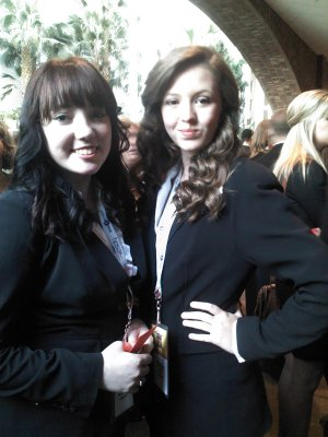 Holli McDonald and Marlie Ball are pictured together at the summer HOSA conference.