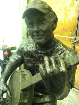 A clay model of the Rick Redden statue.