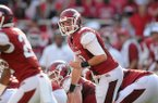 Brandon Allen calls out plays Saturday, Aug. 31, 2013 during the fourth quarter of the game against Louisiana at Donald W. Reynolds Razorback Stadium in Fayetteville.
