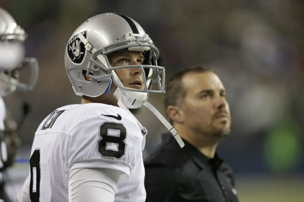 Oakland Raiders quarterback Tyler Wilson stands on the sideline in the first half of an NFL preseason football game against the Seattle Seahawks, Thursday, Aug. 29, 2013, in Seattle. (AP Photo/Stephen Brashear)