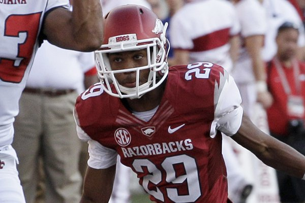 "Arkansas junior starting cornerback Jared Collins said. ""We just have to keep our eyes in the right place,"" when speaking about the upcoming Arkansas-Auburn game."