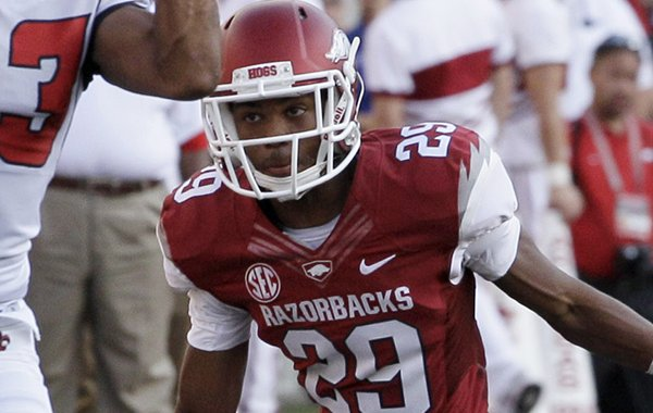 """Arkansas junior starting cornerback Jared Collins said. """"We just have to keep our eyes in the right place,"""" when speaking about the upcoming Arkansas-Auburn game."""