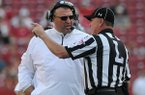 Arkansas coach Bret Bielema talks with an official during the fourth quarter of the Razorbacks' 34-14 win over Louisiana-Lafayette on Saturday, Aug. 31, 2013 at Razorback Stadium in Fayetteville.