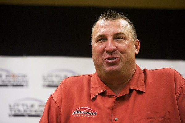Arkansas Democrat-Gazette/MELISSA SUE GERRITS 08/20/13 -   Arkansas football coach Bret Bielema speaks to media before The Little Rock Touchdown Club's first meeting of the season August 21, 2013 at the Marriot in Little Rock.