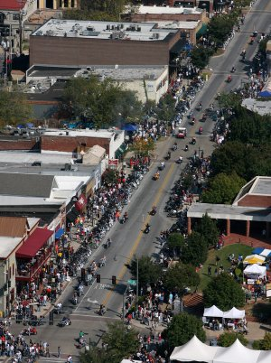 Motorcycles line Dickson Street during Bikes, Blues, and BBQ on Saturday afternoon in Fayetteville.  9-27-08 focus nw