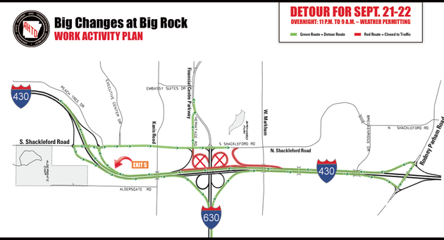 this-graphic-from-the-arkansas-state-highway-and-transportation-department-shows-planned-detours-for-saturday-night-into-sunday-morning-at-an-ongoing-interchange-project-at-interstates-430-and-630