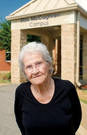Elois McCaghren, 89, stands in front of Mayflower Elementary School on the campus named in her honor Sept. 13. A graduate of Mayflower High School and Arkansas State Teachers College, now the University of Central Arkansas in Conway, she taught for 31 years, starting at the elementary school.