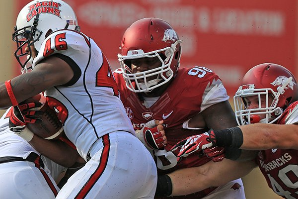 Arkansas defensive tackle Robert Thomas (98) during an Aug. 31, 2013 game in Fayetteville.